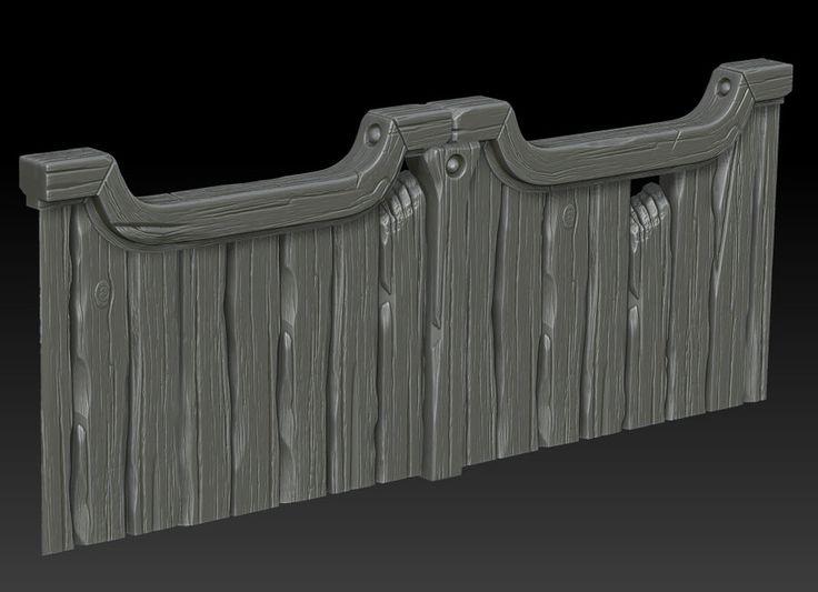 Wooden gate on Zbrush by ganooon on deviantART