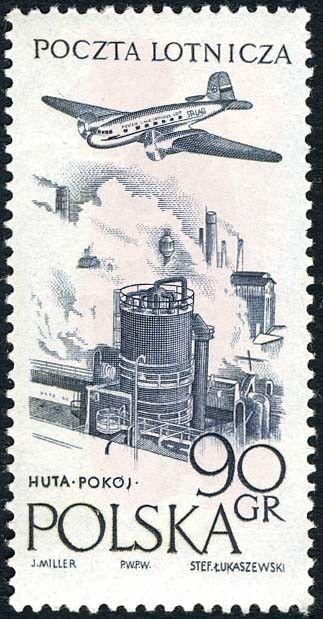 Znaczek: Steelworks in Huta (Polska) (Poczta lotnicza) Mi:PL 1035,Sn:PL C41,Pol:PL 890