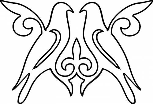 Раскраска орнамент птицы