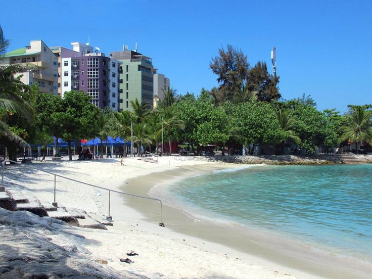"""A small stretch of sand called """"Artificial Beach"""" is on the east side of Male, Maldives."""