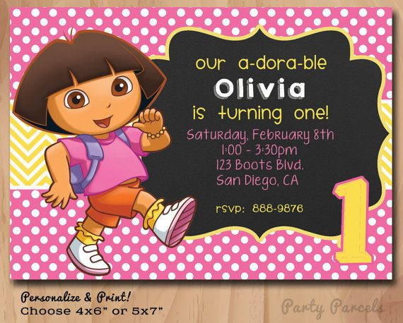 Personalized Bithday Invitation - DORA the Explorer - Chalkboard style - 4x6 or 5x7