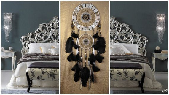 NOW Dreamcatcher silver black mosaic Dream by BestDreamcatcherShop