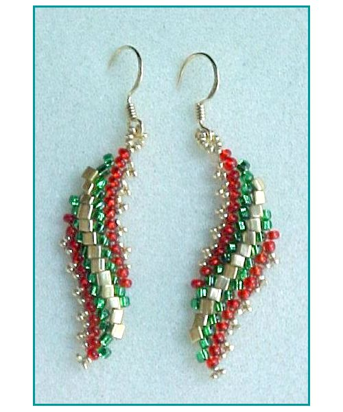 Spiral Leaf Earrings Beading Pattern by Barbara Henthorn at Bead-Patterns.com