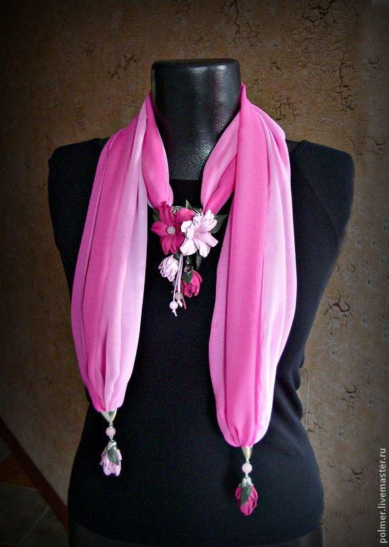 Купить Шарф-колье Весенний букет - розовый, шарф, колье, Колье с подвеской, шарф с брошью