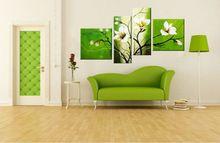 4 pezzo a buon mercato verde moderno fiore pittura a olio su tela di canapa verde picture parete per soggiorno decorazione della parete di arte 4P77(China (Mainland))