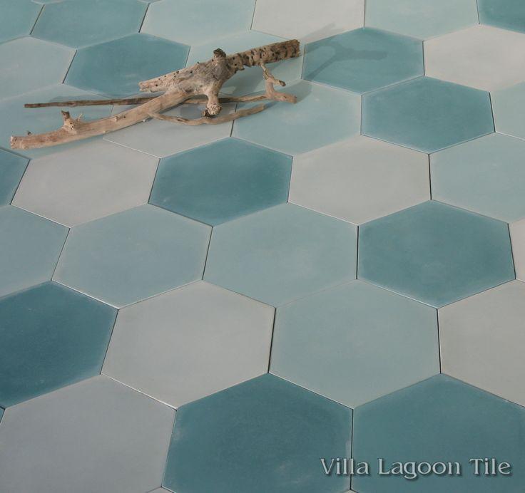 Mixed Aqua Hex Cement Tile, from Villa Lagoon Tile. $5.94 per tile ($16.04 / square foot)