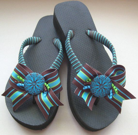 Decorated Flip Flops with Bows Ribbon by FlipFlopsforAllShop