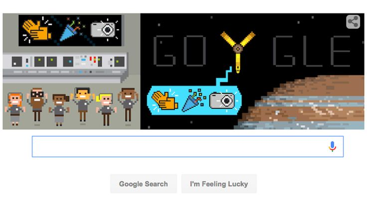 Google Doodle celebrates Juno's trip to Jupiter with cute jumping emojiThe Google Doodle on Monday July 4 2016 celebrated the Juno probes success.  Image: google  By Ariel BogleAustralia2016-07-05 04:52:58 UTC  After NASAs Juno spacecraftsuccessfully reached the planet Jupiter Monday Google celebrated in the best way it knew how: With a cute cartoon Google Doodle.  After a stressful five-year journey to the planet Jupiter NASA'sJet Propulsion Laboratory announced Monday that Juno had made it…