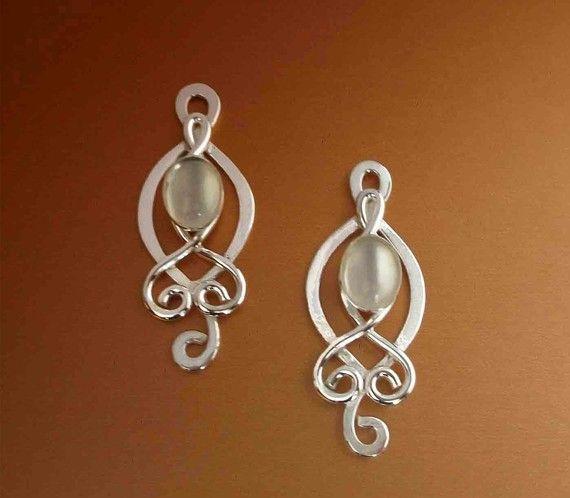 Silvermoon Bridal Earrings Wedding Celtic Elven Fairytale Medieval Rennaissance