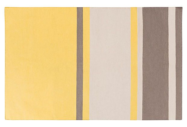 Lyssa Flat-Weave Rug, Yellow/Gray on OneKingsLane.com grey not same as zig zag but the grey nwhite would look great on this  something to consider if you want a rug