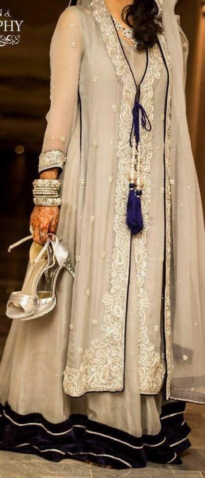 Pakistani dress grey and blue