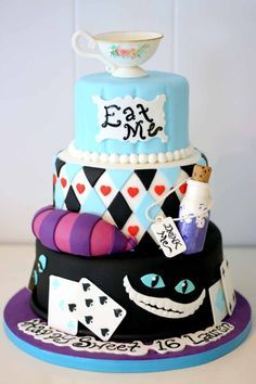 Alice in Wonderland custom Cake for a Sweet 16 Party