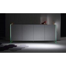 #Madia #design a 4 ante senza maniglie struttura in #vetro illuminato con LED rgb tutto laccato lucido. #arredi #mobili #moderno