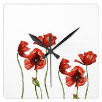 Red Poppies Floral Design Clock