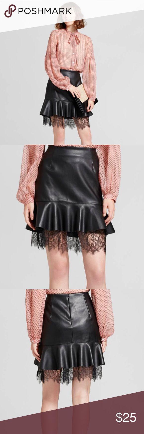Vegan Leather + Lace Layered Skirt NWT - Lace Layered Mini Skirt is perfect for date night paired kicky ankle boots or strappy heels. Lace detailing adds a feminine touch to this sassy skirt.  Care and Cleaning: Machine wash & Tumble dry who what wear Skirts Mini