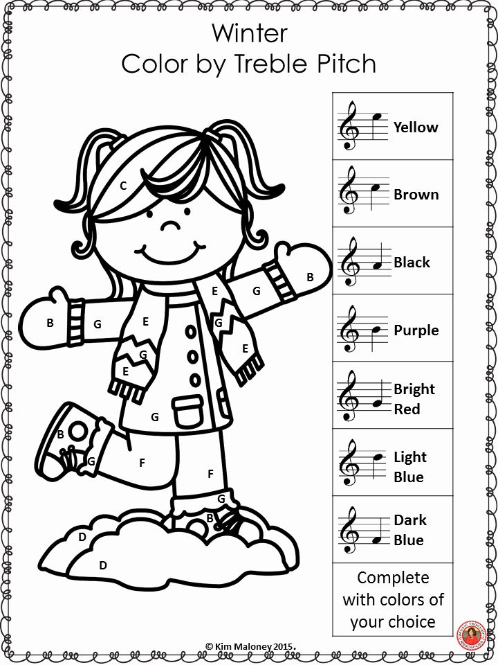 Music Coloring Pages for Kids Lovely Winter Music Activities 10