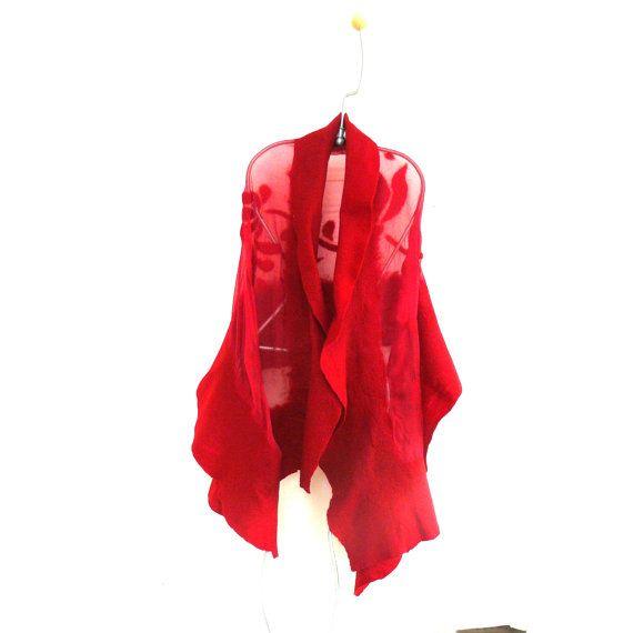 Nuno vilten sjaal, grote sjaal, wol en zijde sjaal, rode accessoires, vrouwen, wrap