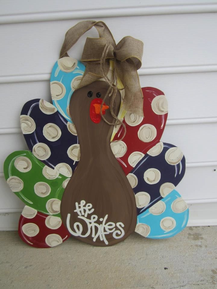 Turkey door hanger - polka dot funky thanksgiving door hanger. $44.00, via Etsy.