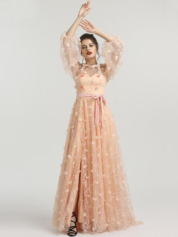 f9a6ade6907 Chic A-line Scoop Long Sleeve Prom Dress With Floral Prom Dresses Long  Evening Dress