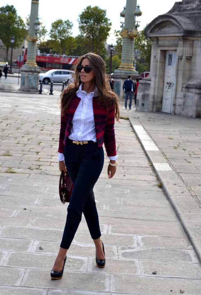 Stylish casual Friday - black skinny pants, white shirt, blazer, high heels and sunglasses.