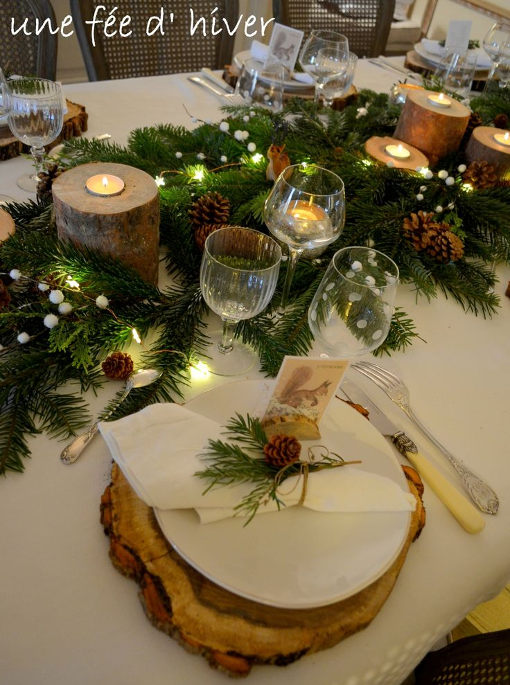1000 id es sur le th me no l rustique sur pinterest no l - Deco table de noel blanc ...