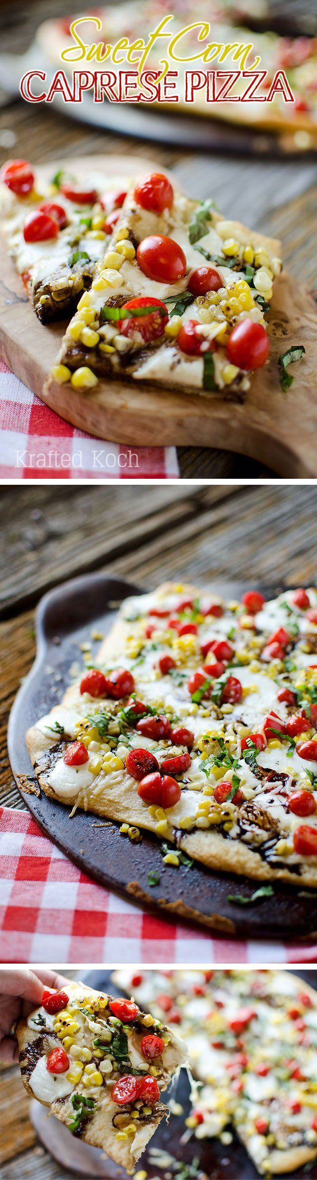 Grilled Pizza With Cheesy Corn, Fresh Tomatoes, And Basil Recipes ...