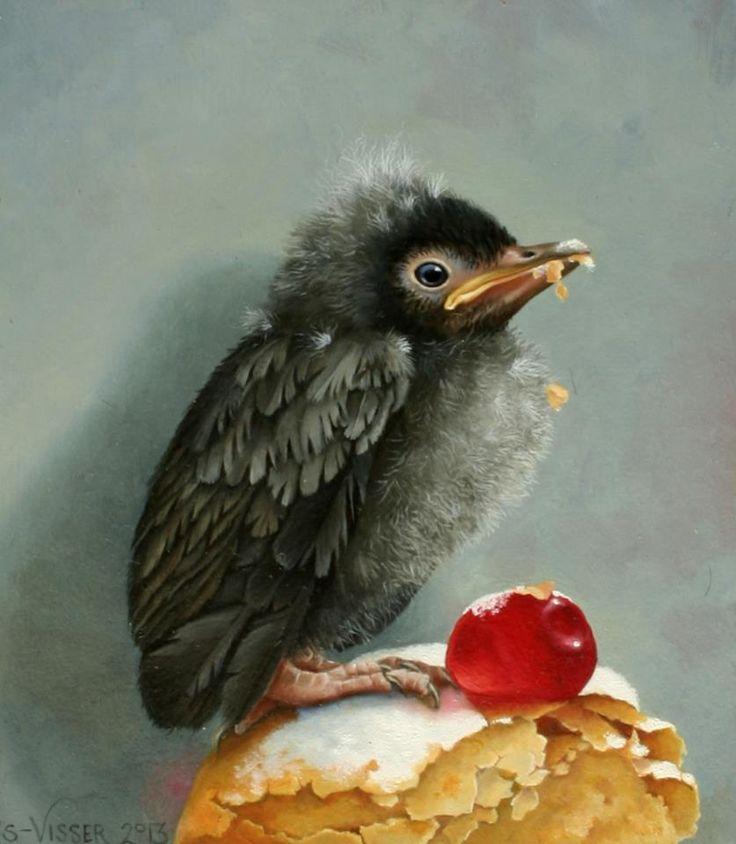 """Laatste voorbereidingen aan het doen voor de feestelijke vernissage vanmiddag van de expositie met Suzan Visser. Vanaf 14 uur is ze in de galerie aanwezig. 'De Taarten van Tabitha' zorgt voor een heerlijke proeverij van Franse taart, romige cake en ander lekkers. Onderstaand toepasselijk schilderij is """"De banketraaf"""" (reeds verkocht)"""