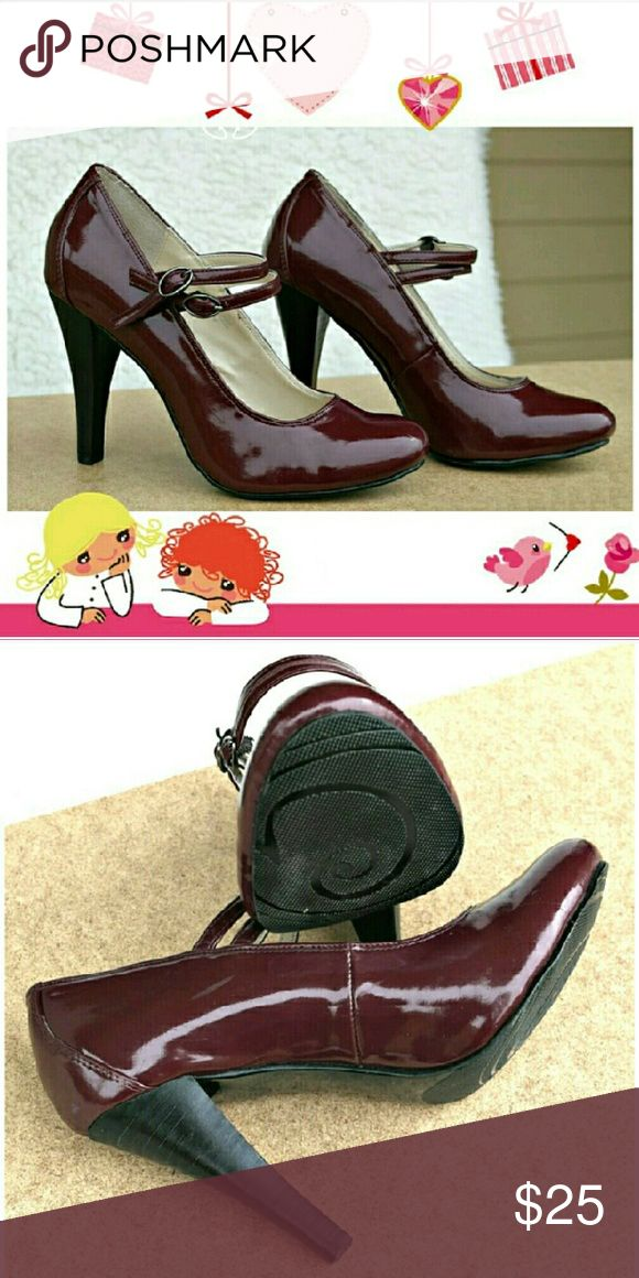 Gabriella Rocha Burgundy Mary Jane Heels No wear.  Double strap.  Gorgeous 4in heels! Size 7 1/2M  No box.  #burgundy #wine #maroon #maryjane #heels #pumps #doublestrap #gabriellarocha Gabriella Rocha  Shoes Heels