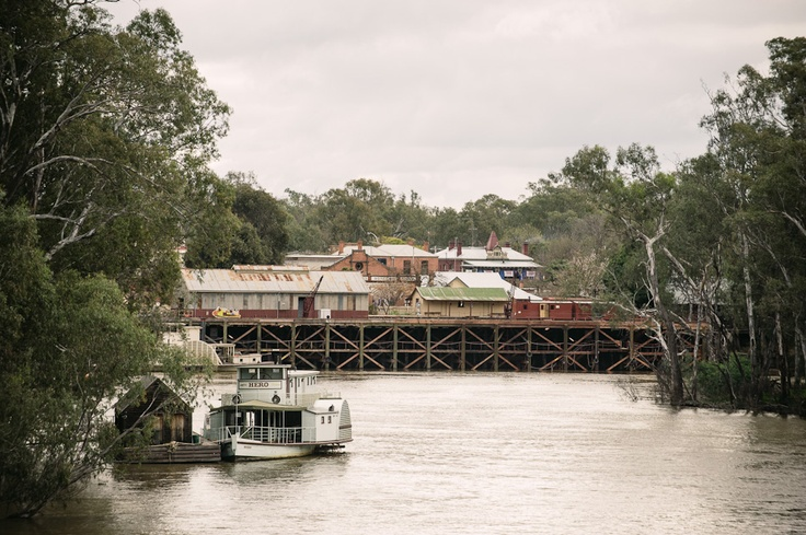 View of the old port of Echuca on the Murray River