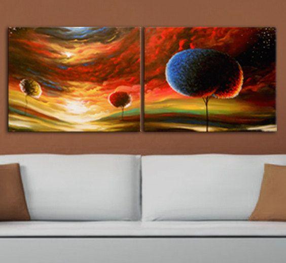 vallen herfst kunst schilderij tweeluik van mattsart op Etsy