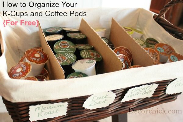 LOVE this! How to Organize K-Cups and Coffee Pods for Free from @Decor_chick #yourfavoritecup