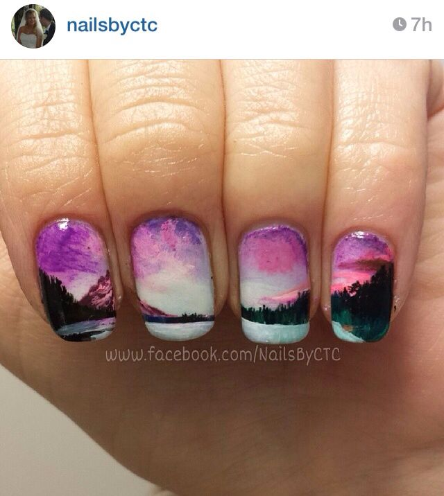 Pink lake landscape nails