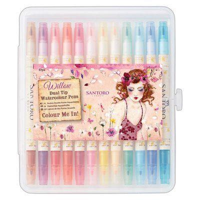 Santoro's Willow Colour Me In Watercolour Dual-Tip Pens (12pk) - Santoro