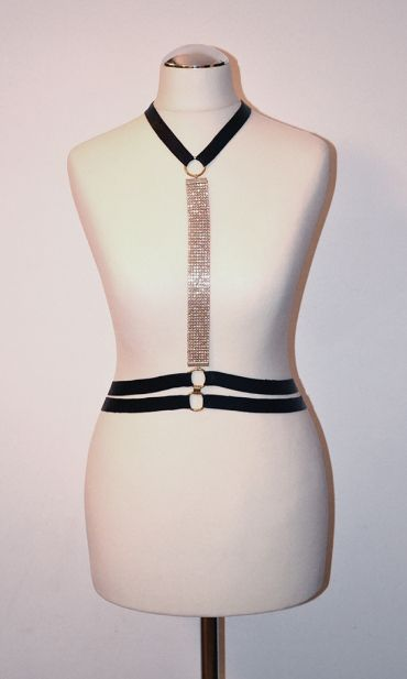 Black lacquer leather harness with golden ring, belt with crystals and double belt https://kivaleatheraccessories.wordpress.com/2015/01/19/glamorous-harnesses/