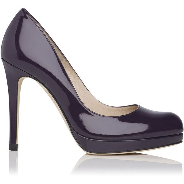 L.K. Bennett Sledge Patent Leather Platform Court Shoe (2.240 ARS) ❤ liked on Polyvore featuring shoes, pumps, purple, purple pumps, purple patent leather shoes, purple shoes, shiny shoes and purple patent leather pumps