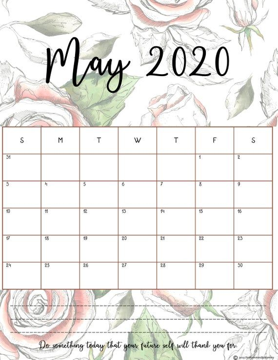 Free Printable Monthly Calendar 2020 In Beautiful Floral Prints