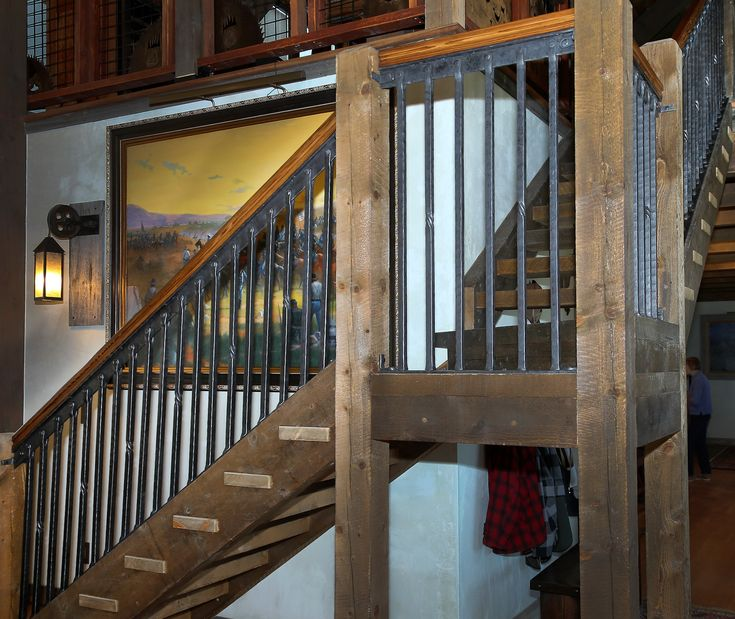 Stair Guardrail Sections between wooden newel posts ...
