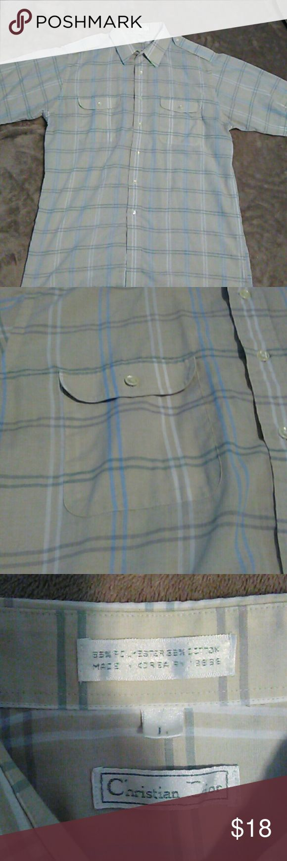 Christian Dior mens plaid button down casual shirt Christian Dior mens tan, green blue plaid button down shirt with button shoulders, front pockets. Size Large.  Gently used. Christian Dior Shirts Casual Button Down Shirts