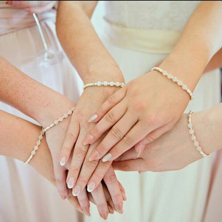 Custom made Bride and Bridesmaids Rose Gold and Sterling Silver Bracelets