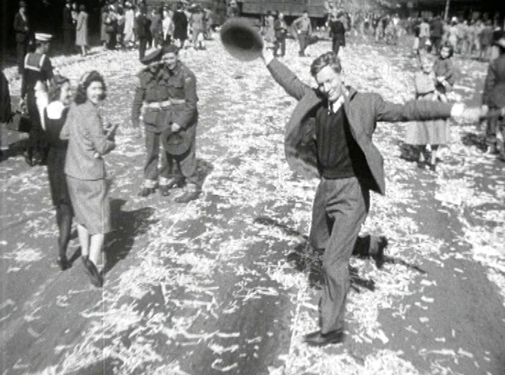 The iconic dancing man celebrating the end of WW II on Sydney streets
