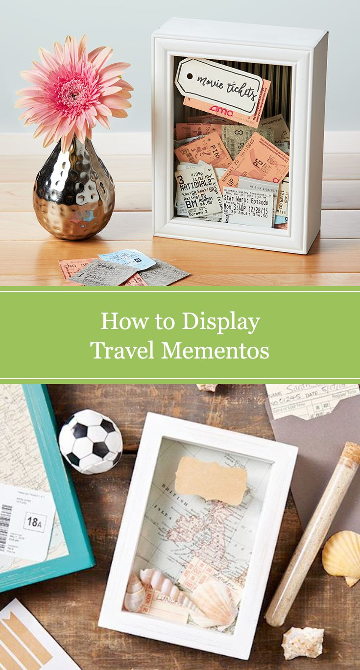 DIY travel memory box. Preserve plane or train tickets, seashells and vacation pictures in a modern way using a wooden shadow box and decorative craft supplies.