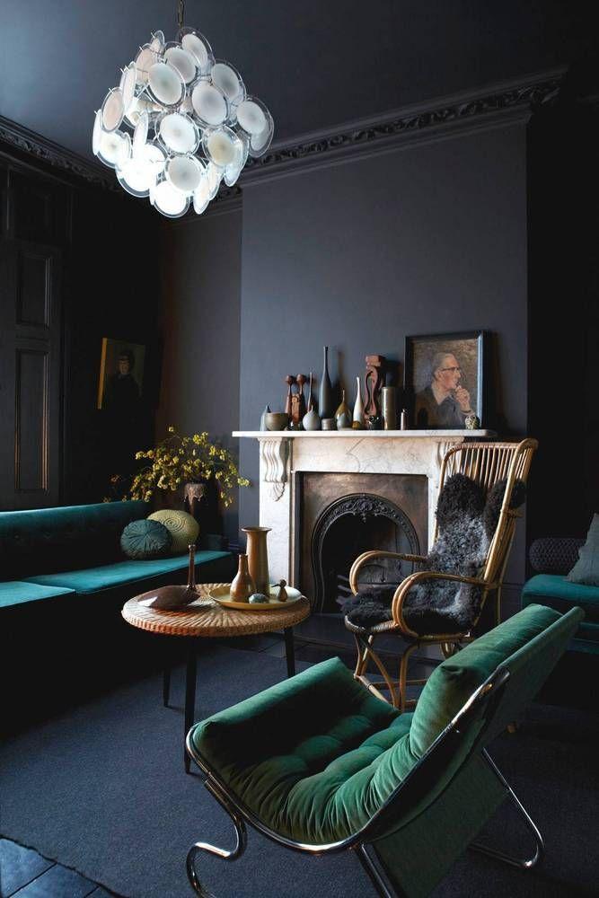 living, moody, dark, cozy, gothic, vintage, velvet jewel tones, retro love this (not usual style) but it's brilliant