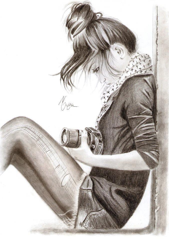 girl, câmera, desenho