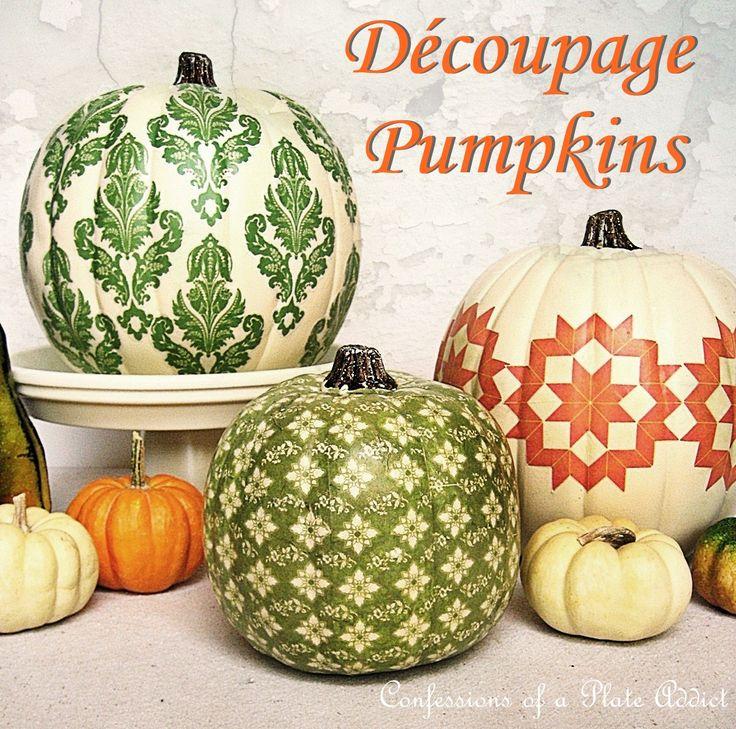 Fun Fall Projects...Découpage Pumpkins