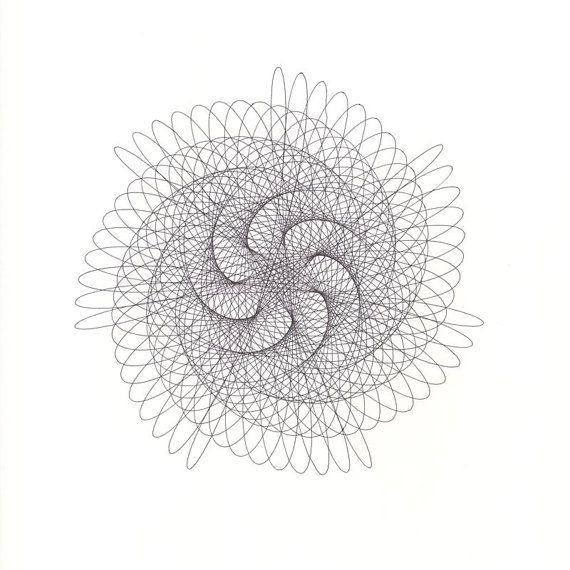 Spiral Pinwheel Abstract Original Ink Drawing, Geometric Line Drawing, Black Ink, Nautilus Lacy Pattern 14x17