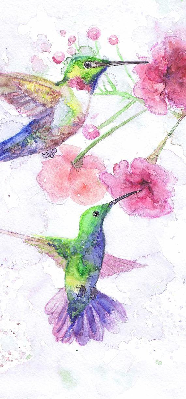 Hummingbird And Flower Art Watercolor Birds Pink Humming Bird