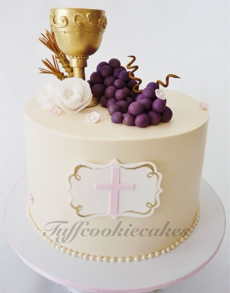 First communion cake, iced in buttercream gumpaste details