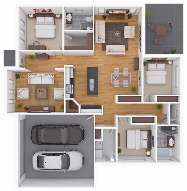 10 Awesome Two Bedroom Apartment 3D Floor Plans | Bedroom Apartment,  Apartments And 3d