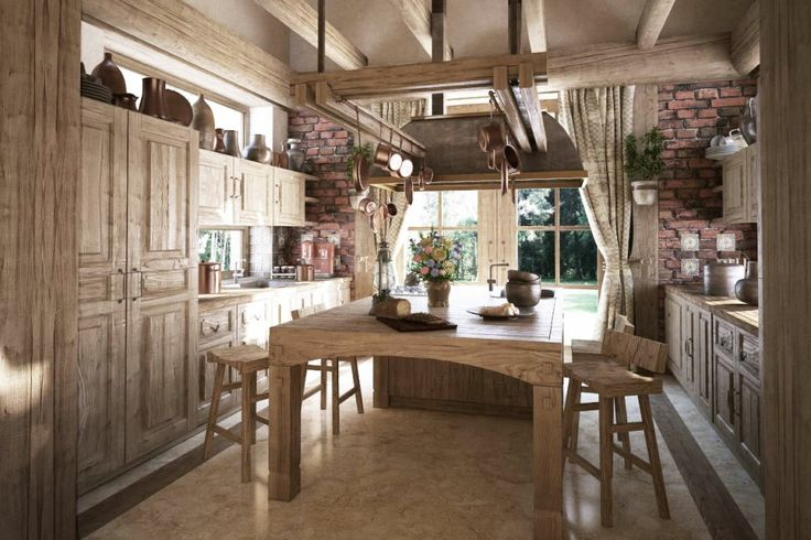 Kitchen Designs:Traditional Rustic Kitchen Design With An Oversized Table 11 Luxury Traditional Kitchen Thoughts