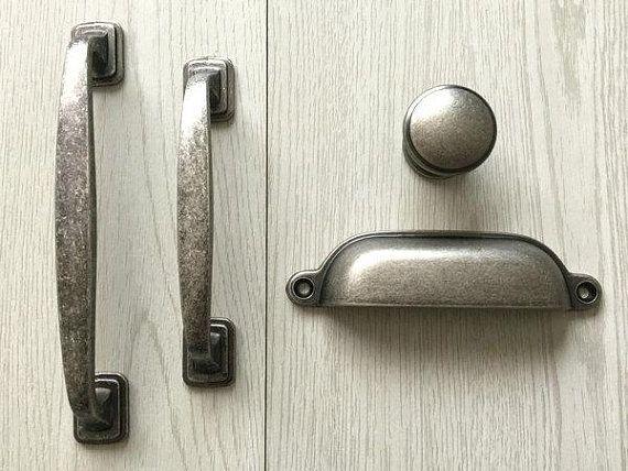 Kitchen Door Handles, Antique Silver Kitchen Cabinet Handles